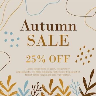 Promoción de venta otoño dibujado a mano