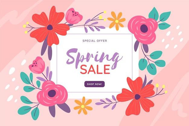 Promoción de venta de primavera dibujada ilustrada