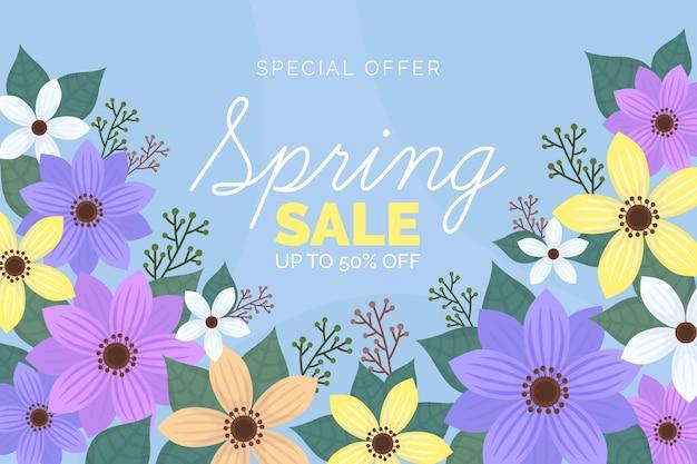 Promoción de venta de primavera dibujada