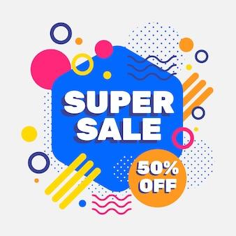 Promoción de ventas de diseño abstracto con 50% de descuento