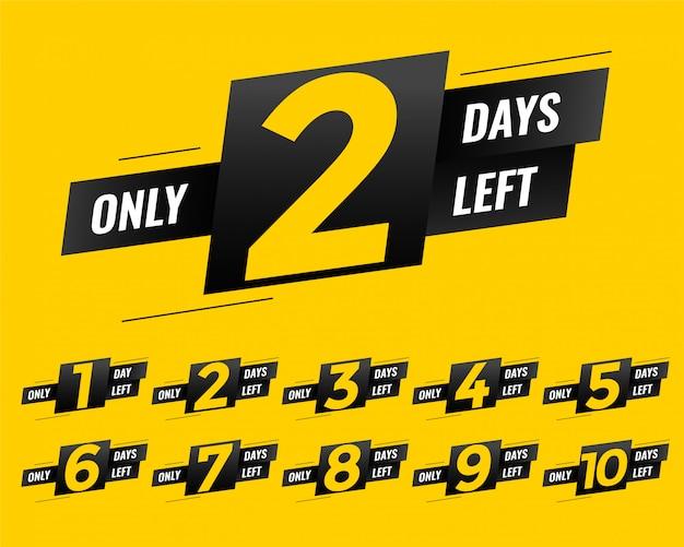 Promocional numero de dias de cartel de banner.