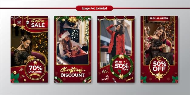 Promociones navideñas de instagram y plantilla de venta con descuento