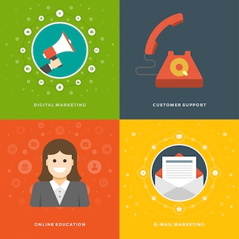 Promociones de sitio web banners plantillas e iconos planos