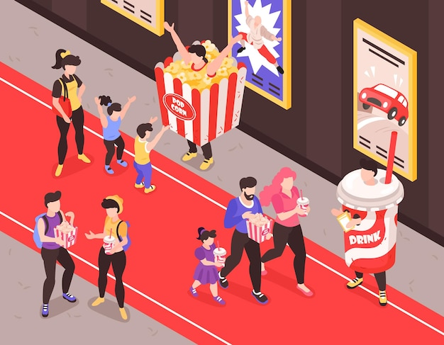Promotores de comida rápida con disfraces de bocadillos y refrescos que se acercan a los clientes en la ilustración de composición isométrica de la alfombra roja