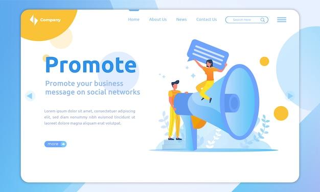 Promover la plantilla de página de destino del concepto de mensajes comerciales