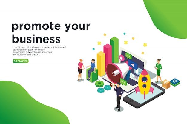 Promover su concepto de ilustración vectorial isométrica de negocios