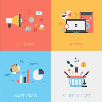 Promueva la tienda, revise productos, estadísticas de ventas, conjunto de iconos de carrito de compras en línea.