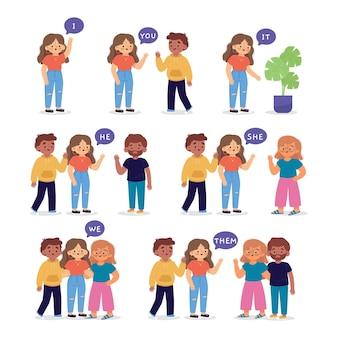 Pronombres de sujeto en inglés con ilustración