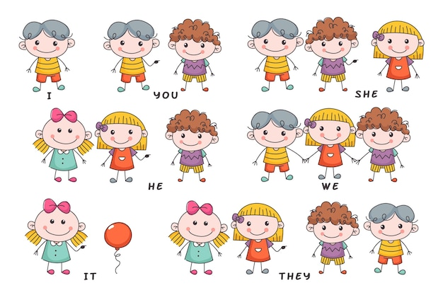 Pronombres de sujeto en inglés con niños dibujados a mano