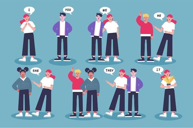 Pronombres de sujeto en inglés con personas
