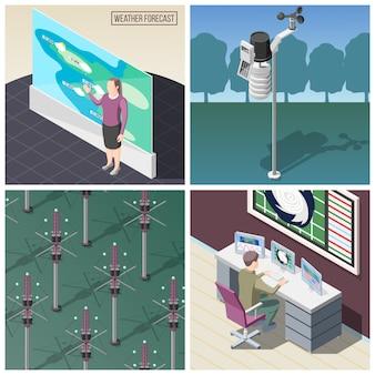 Pronosticador de predicción meteorológica en el trabajo dispositivo de medición de viento reflectores de señales de radio concepto isométrico