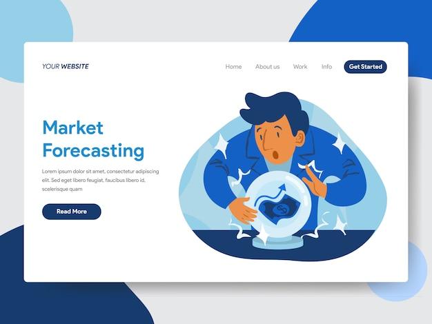 Pronóstico del mercado con ilustración de bola de cristal para páginas web
