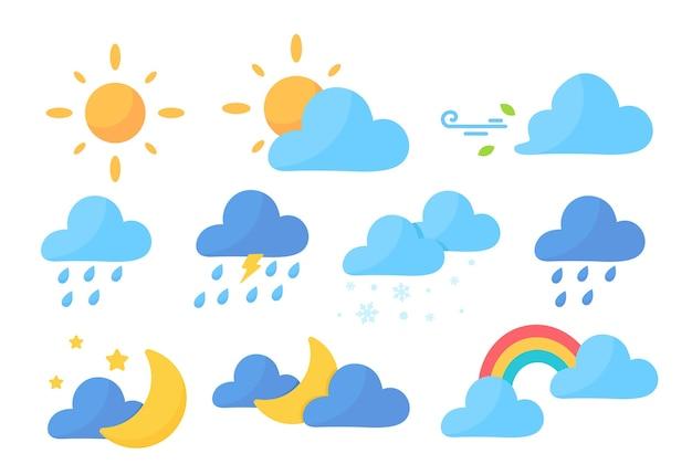 Pronóstico del tiempo lindo de dibujos animados.