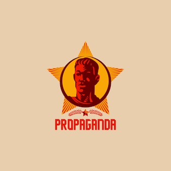 Propaganda retro revolución logo diseño