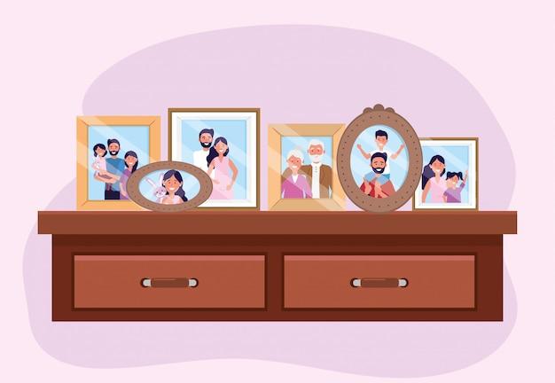 Propait con recuerdos de fotos familiares en la cómoda.