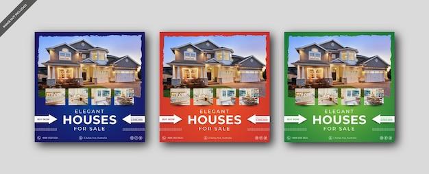 Propiedad inmobiliaria de la casa redes sociales o plantilla de publicación cuadrada de instagram