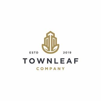 Propiedad inmobiliaria con plantilla de logotipo de hoja