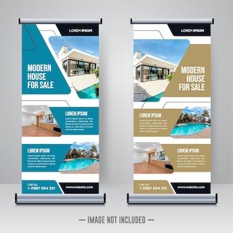Propiedad inmobiliaria roll up o x plantilla de banner