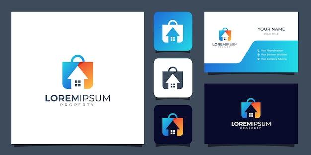 Propiedad de logotipo de casa y bolso con plantilla de tarjeta de visita