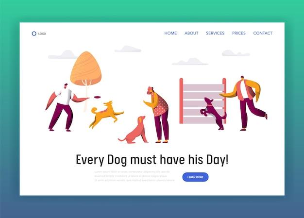 Propietario, entrenamiento, comando, diferente, divertido, perro, página de aterrizaje.