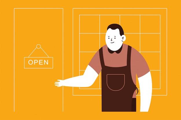 Propietario de pequeña empresa y señal de puerta abierta