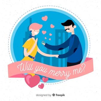 Proposición de matrimonio adorable con diseño plano