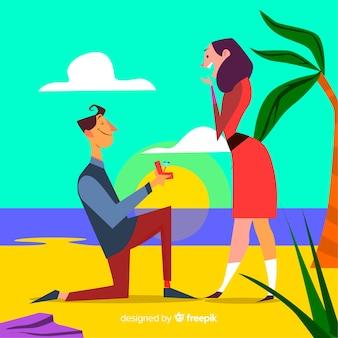 Proposición de matrimonio adorable con estilo de dibujo animado