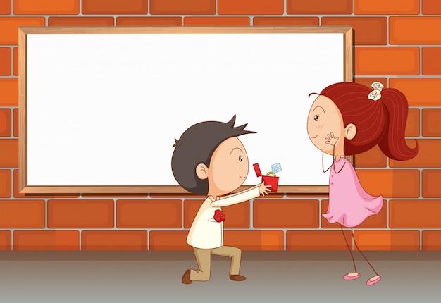 Una propuesta de matrimonio cerca del tablero vacío