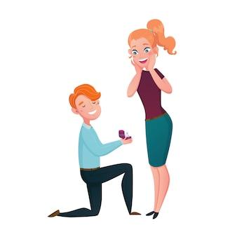 Propuesta de matrimonio hombre arrodillado escena de dibujos animados