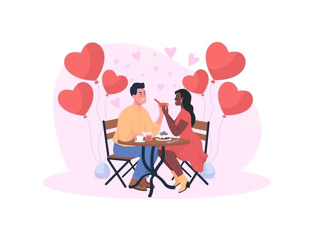 Propuesta de matrimonio en la ilustración del concepto de cena romántica. compromiso de los amantes.