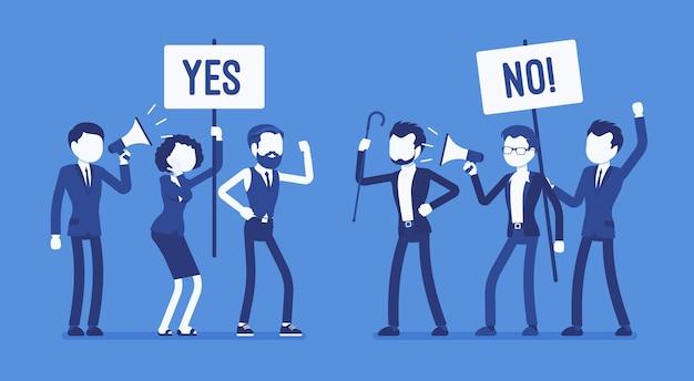Pros y contras personas en diseño plano.