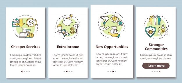 Pros que comparten la pantalla de la página de la aplicación móvil de integración de la economía con conceptos