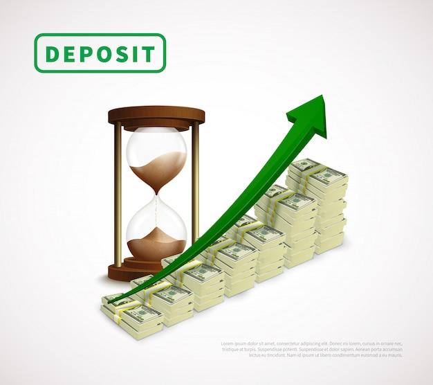 Prosperidad de dinero plantilla de negocio realista