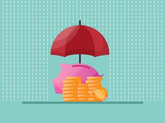 Protección de ahorro de dinero con ilustración de paraguas rojo plano