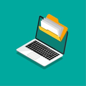 Protección de archivos. carpeta con archivos y documentos en una computadora en un moderno estilo isométrico.