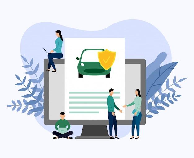 Protección del automóvil, ilustración comercial