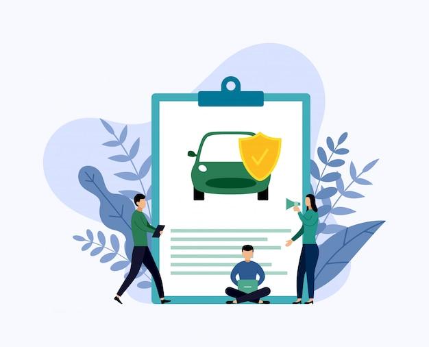 Protección del automóvil, ilustración de vector de concepto de negocio