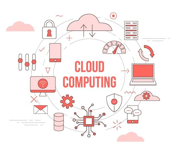Protección de conexión de red de datos de computadora portátil de nube de concepto de computación en la nube con estilo de plantilla de conjunto de iconos y círculo redondo