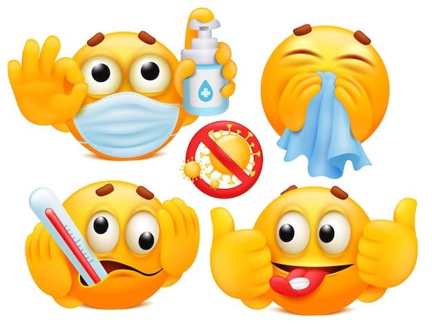 Protección contra el coronavirus. conjunto de cuatro personajes de dibujos animados emoji en diversas emociones.