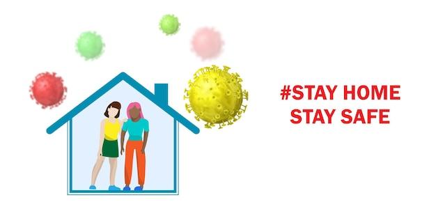 Protección contra el coronavirus. quedarse en casa. personas dentro de la casa en cuarentena y virus alrededor.