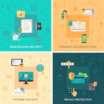Protección de datos 4 iconos planos cuadrados