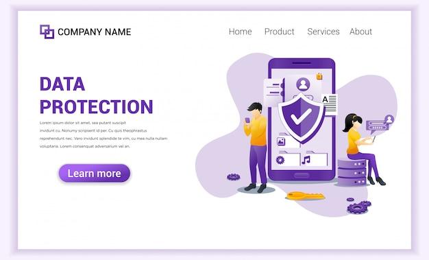 Protección de datos digitales para plantilla de página de destino.