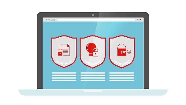 Protección de datos. escudos de seguridad web en la pantalla del portátil. computadora - iconos de seguridad de internet.