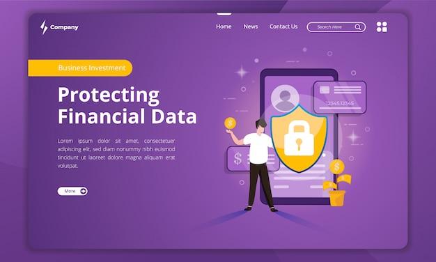 Protección de datos financieros en la plantilla de página de destino