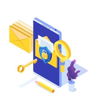 Protección de datos informáticos, concepto isométrico de cifrado de correo electrónico.