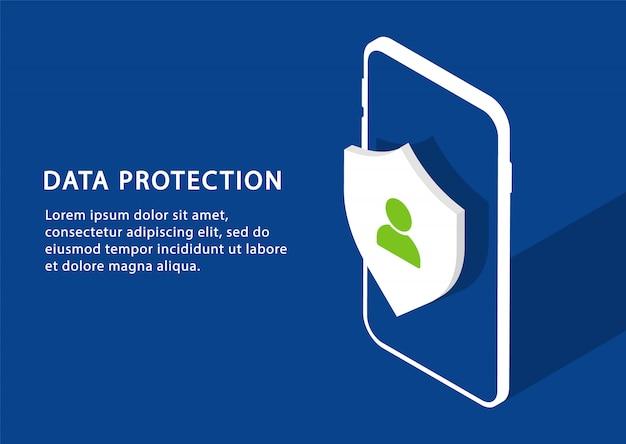 Protección de datos móviles. protección de la privacidad en isometría. páginas web modernas para sitios web.