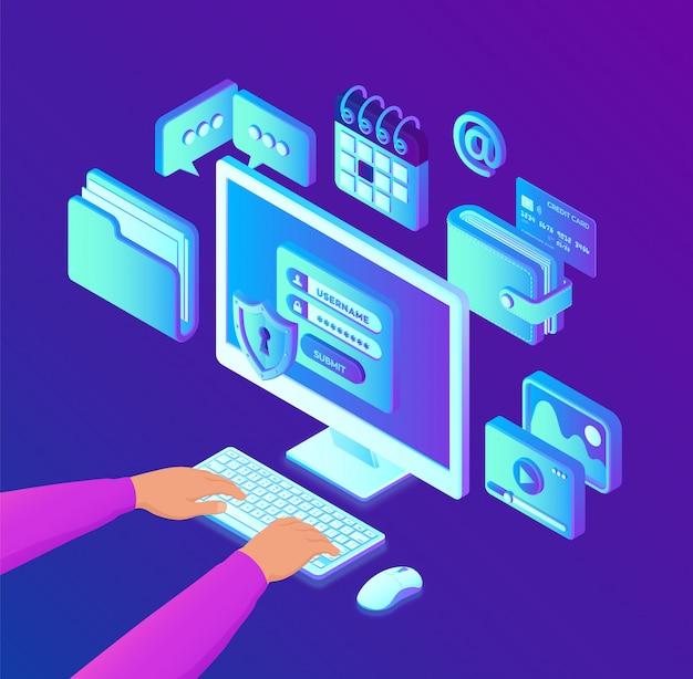 Protección de datos. pc de escritorio isométrica con formulario de autorización en pantalla. manos en el teclado.