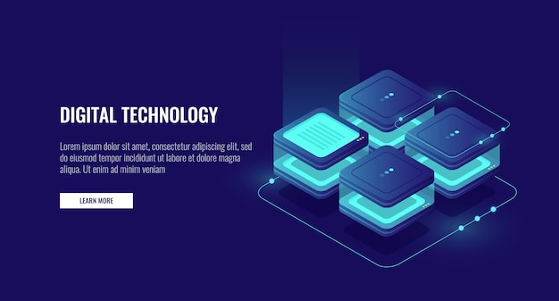 Protección de datos personales, sala de servidores, concepto de centro de datos, procesamiento de big data