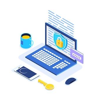 Protección de datos. seguridad en internet, acceso privado con contraseña. computadora isométrica, escudo, cerradura