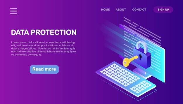 Protección de datos. seguridad en internet, acceso privado con contraseña. computadora isométrica, llave, cerradura